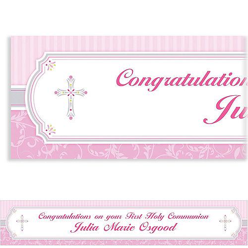 Custom Pink Communion Blessings Banner 6ft Image #1