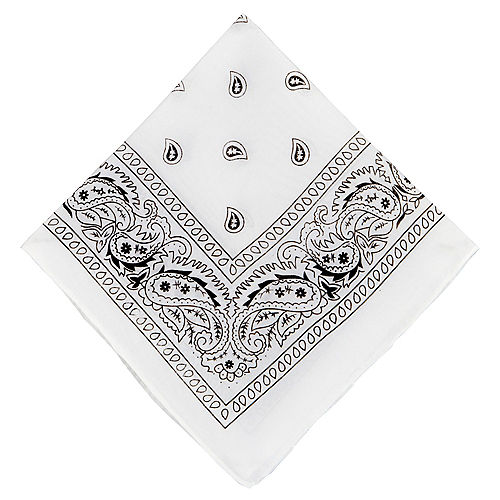 Nav Item for White Paisley Bandana, 20in x 20in Image #1