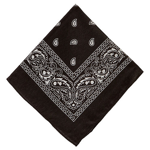 Black Paisley Bandana, 20in x 20in Image #1