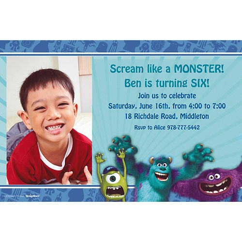 Custom Monsters University Photo Invitations Image #1