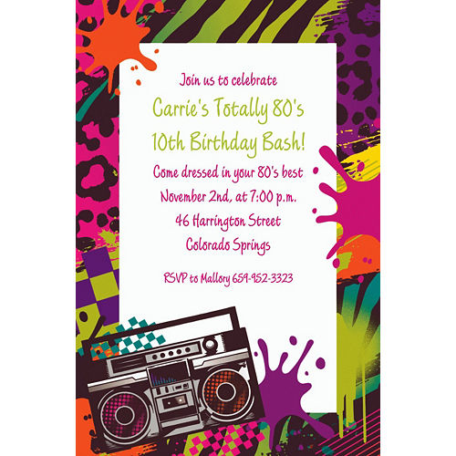 Custom Totally 80s Invitations Image #1