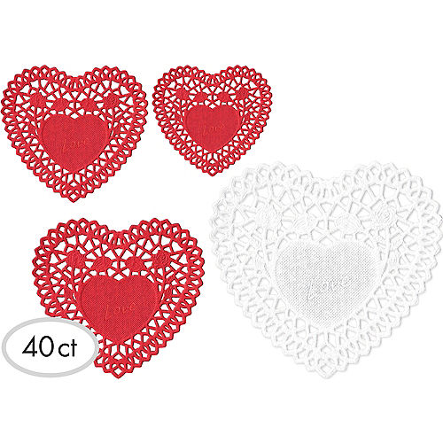 Valentine's Day Heart Doilies 40ct Image #1