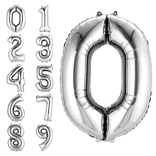 34in Silver Number Balloon (0) Image #1