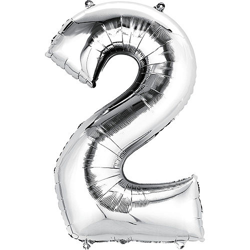 34in Silver Number Balloon (2) Image #1
