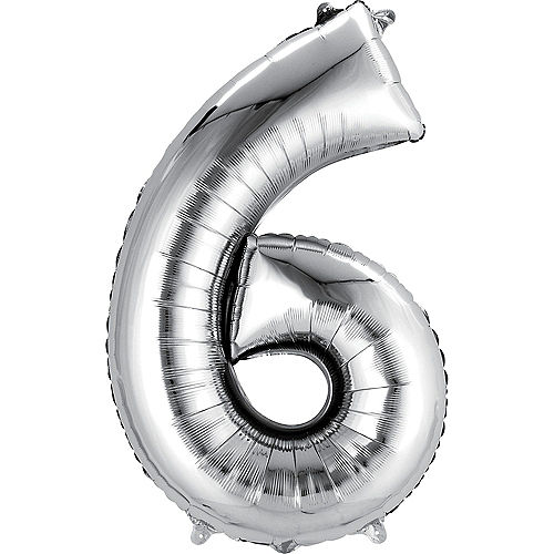 34in Silver Number Balloon (6) Image #1