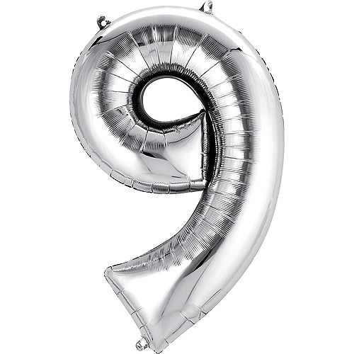 34in Silver Number Balloon (9) Image #1