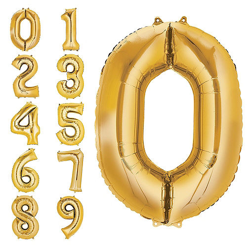 34in Gold Number Balloon (0) Image #1