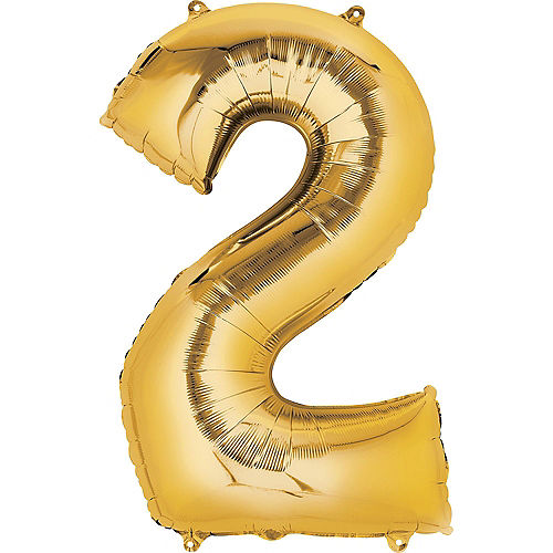 34in Gold Number Balloon (2) Image #1