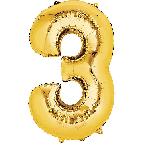 34in Gold Number Balloon (3) Image #1