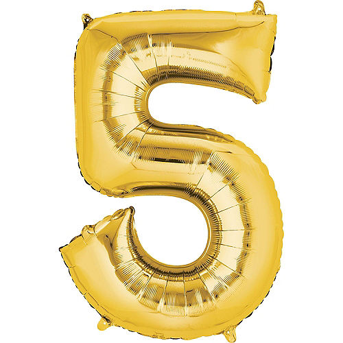 34in Gold Number Balloon (5) Image #1