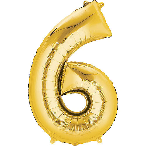 34in Gold Number Balloon (6) Image #1