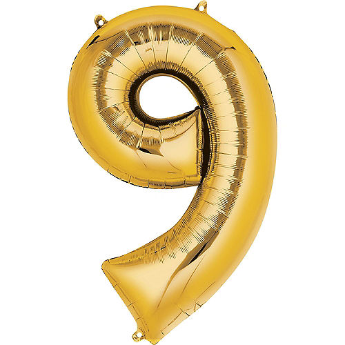 34in Gold Number Balloon (9) Image #1