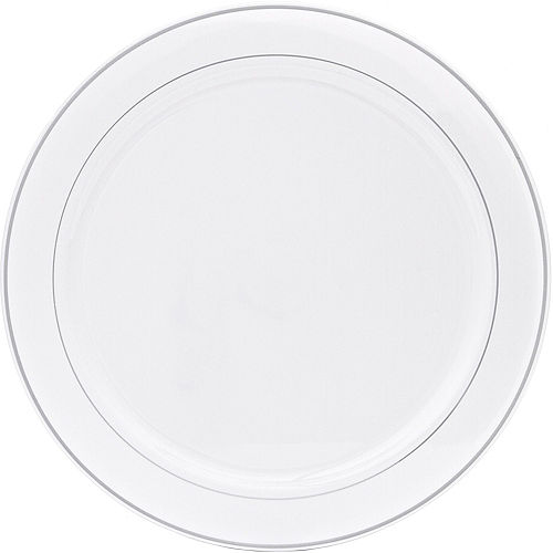 Silver Trimmed White Plastic Platter Image #1