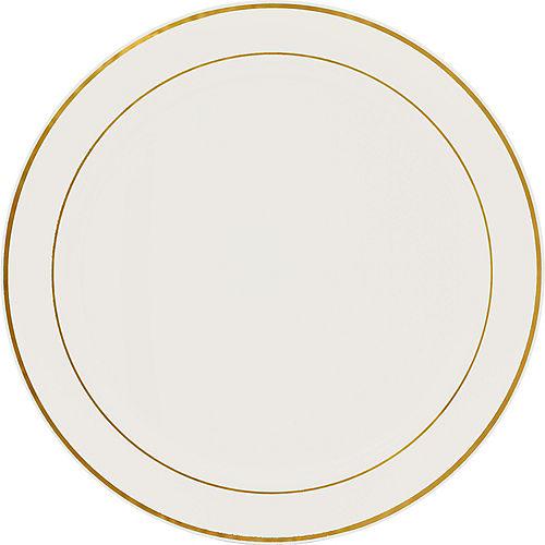 Gold Trimmed Cream Plastic Platter Image #1