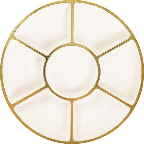 Gold Trimmed Cream Plastic Sectional Platter Image #1