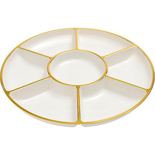 Gold Trimmed Cream Plastic Sectional Platter Image #2
