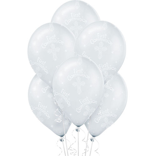 First Communion Balloons 6ct - Clear Blessings Image #1