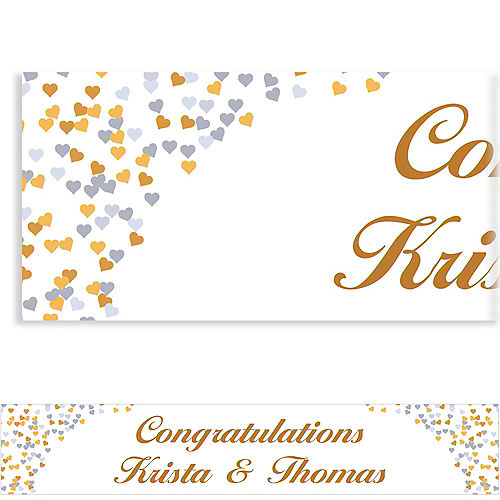 Custom Bunches of Hearts Gold Wedding Banner 6ft Image #1