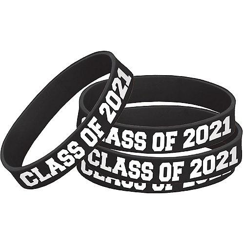 Black 2021 Graduation Rubber Wristband Image #1