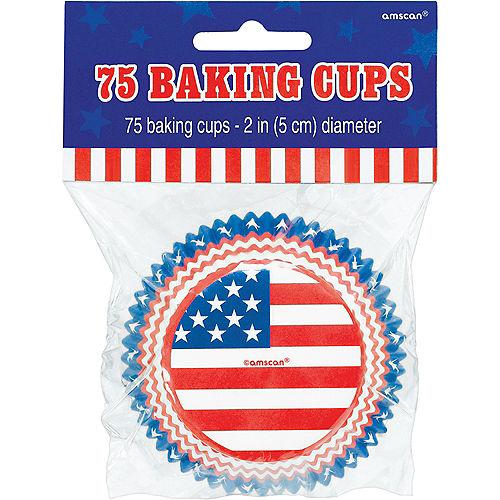 Patriotic American Flag Baking Cups 75ct Image #2