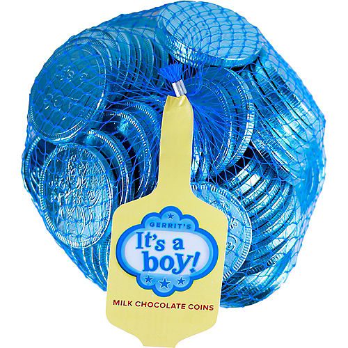 Blue It's a Boy Chocolate Coins 72pc Image #1