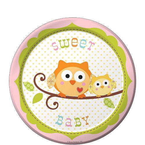 Pink Owl Baby Shower Dessert Plates 8ct Image #1