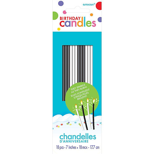 Tall Black & White Sparkler Birthday Candles 18ct Image #1