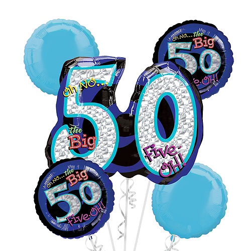 50th Birthday Balloon Bouquet 5pc - Blue Oh No! Image #1