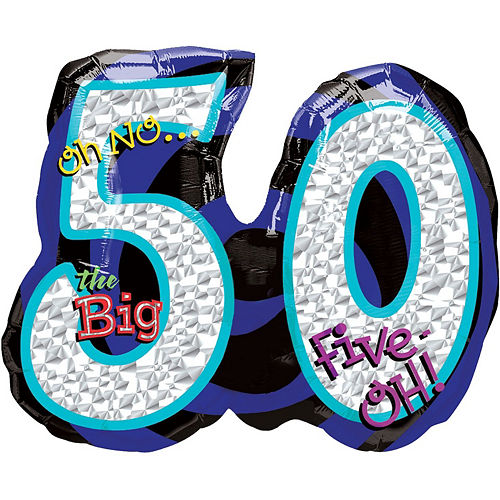 50th Birthday Balloon Bouquet 5pc - Blue Oh No! Image #2