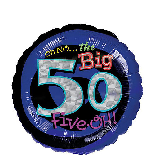50th Birthday Balloon Bouquet 5pc - Blue Oh No! Image #3
