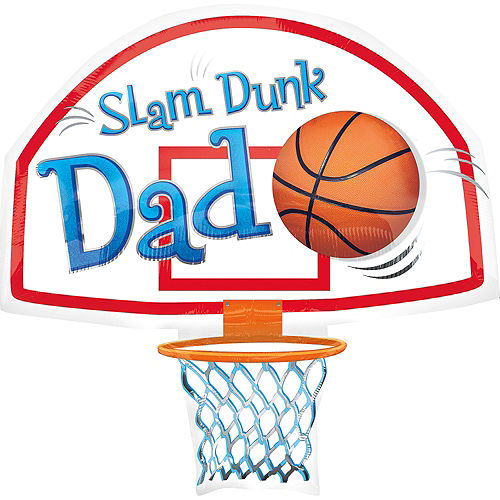 Foil Slam Dunk Dad Balloon 35in, 35in Image #1