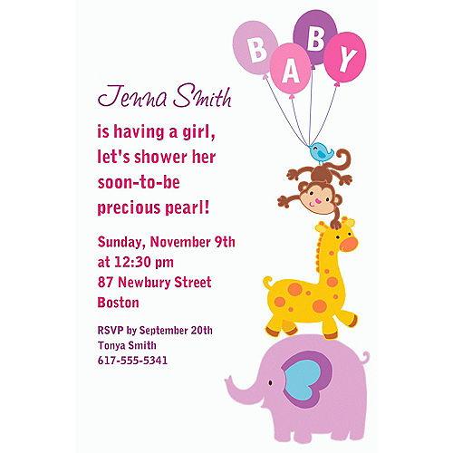 Custom Animals with Girl Balloons Invitations Image #1
