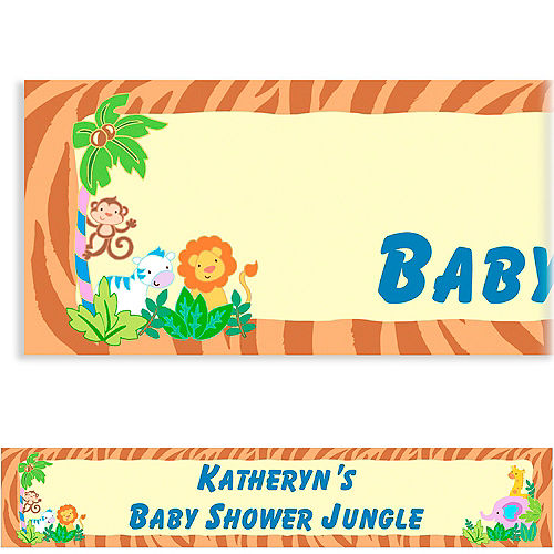 Custom Jungle Baby Shower Baby Shower Banner 6ft Image #1