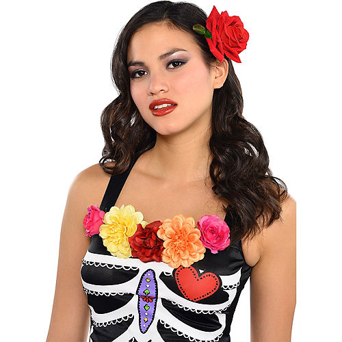 Day of the Dead Rose Hair Clip Image #2