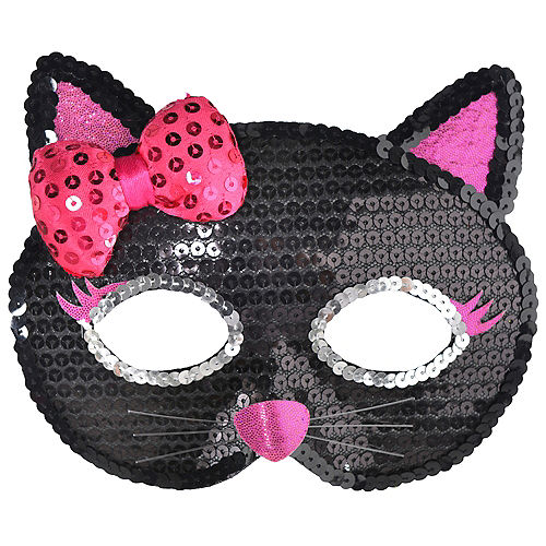 Child Sequin Black Cat Mask Image #1