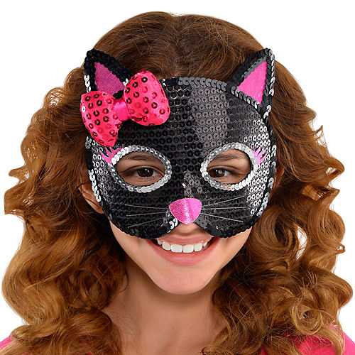 Child Sequin Black Cat Mask Image #2