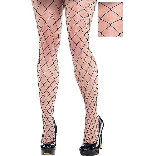 Adult Black Wide Fishnet Pantyhose Plus Size Image #1