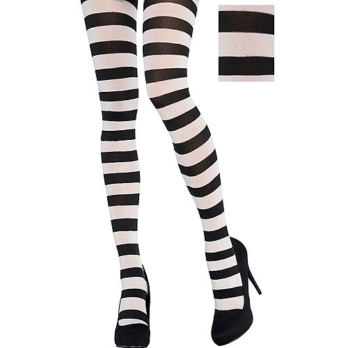 Adult Black & White Striped Tights Image #1