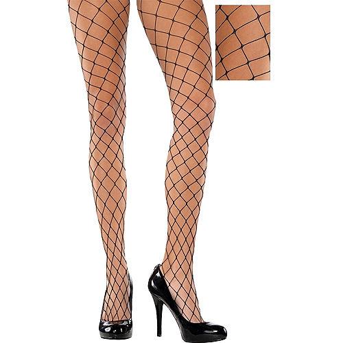 Adult Wide Diamond Black Fishnet Pantyhose Image #1