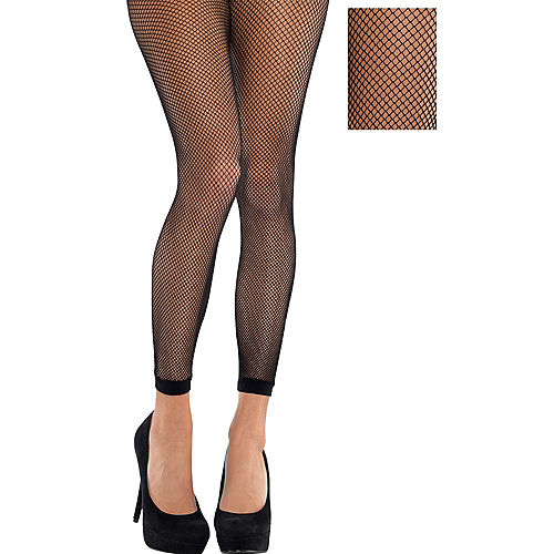 Adult Black Fishnet Footless Pantyhose Image #1