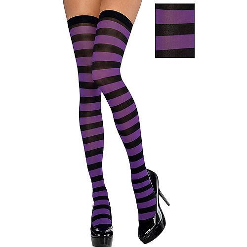 Adult Purple & Black Thigh-High Stockings Image #1