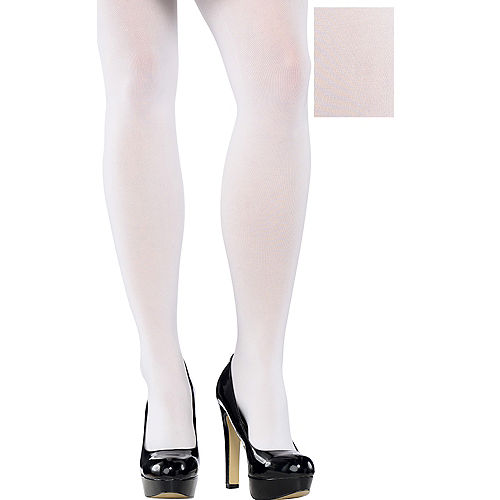 Adult White Tights Plus Size Image #1