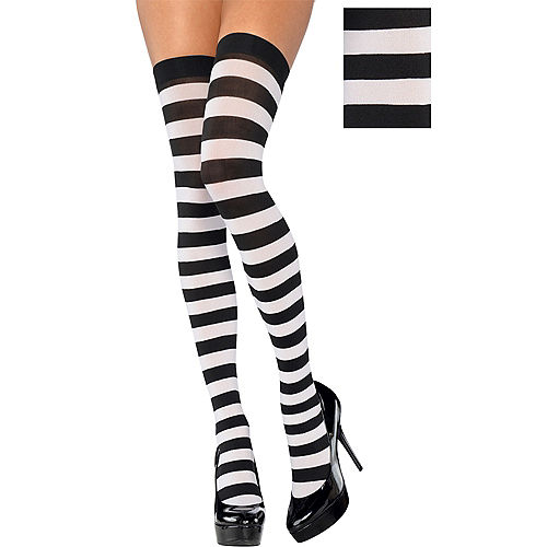 Adult Black & White Thigh-High Stockings Image #1