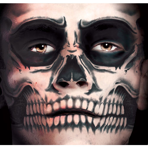 Skull Face Tattoo Kit - Day of the Dead- Tinsley Transfers Image #1