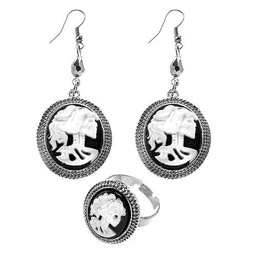 Black & Bone Earrings & Ring Set Image #1