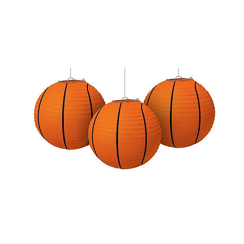 Basketball Paper Lanterns 3ct Image #1