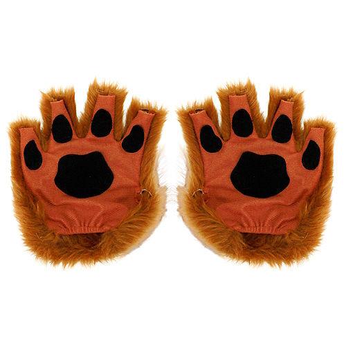 Brown Paw Fingerless Gloves Image #1