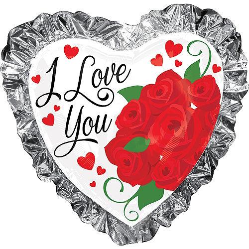 Foil Ruffle I Love You Heart Balloon, 28in Image #1