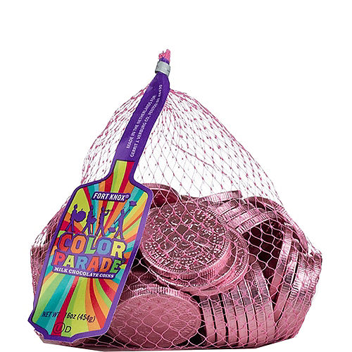 Bright Pink Chocolate Coins 72pc Image #1