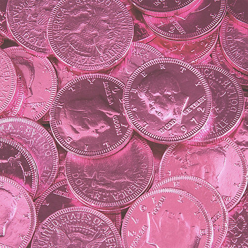 Bright Pink Chocolate Coins 72pc Image #2